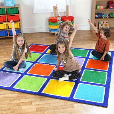 Rainbow Square Placement Carpet,rainbow square carpet,carpets and mats,furniture,early years resources, educational resources, educational materials, childrens learning carpets